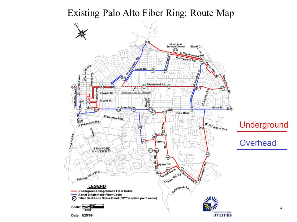 4 Existing Palo Alto Fiber Ring: Route Map Underground Overhead