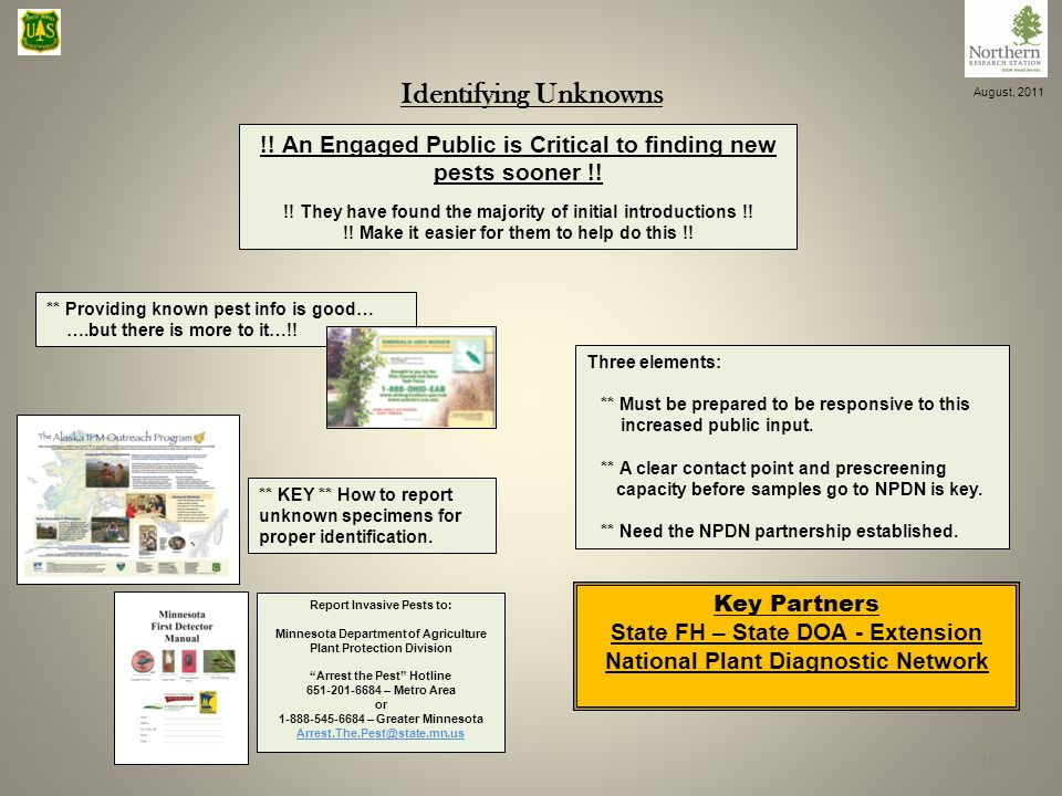 Identifying Unknowns !. An Engaged Public is Critical to finding new pests sooner !.