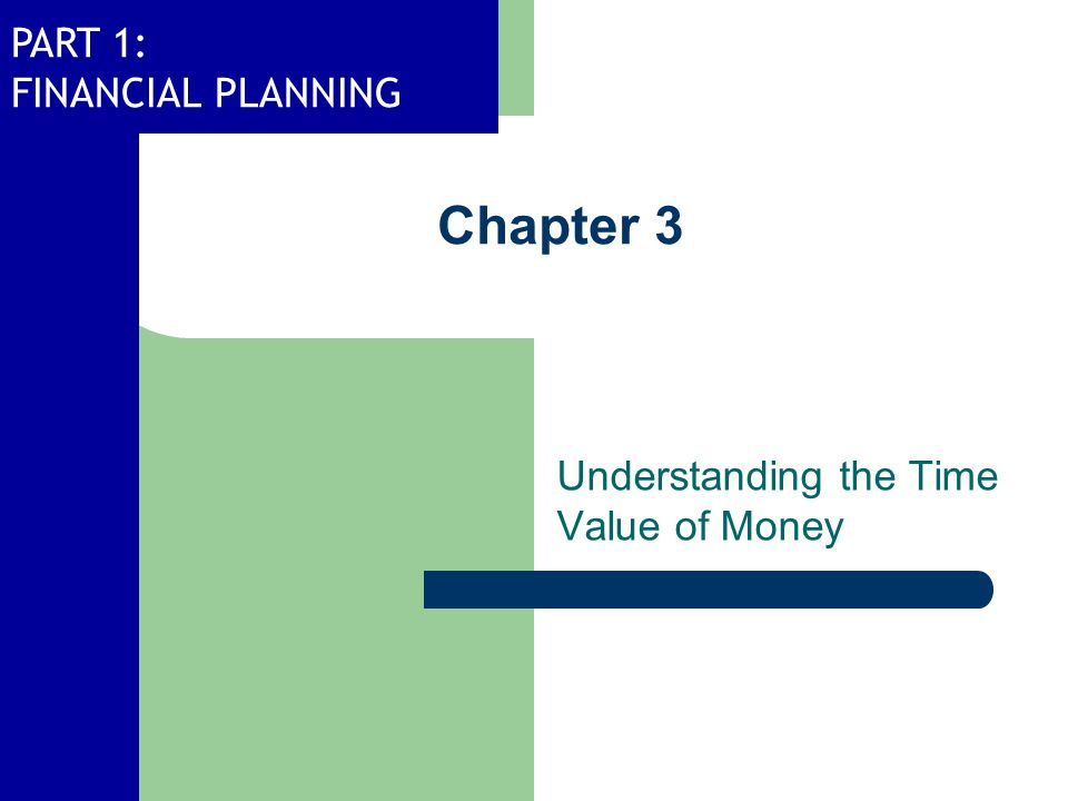 PART 1: FINANCIAL PLANNING Chapter 3 Understanding the Time Value of Money