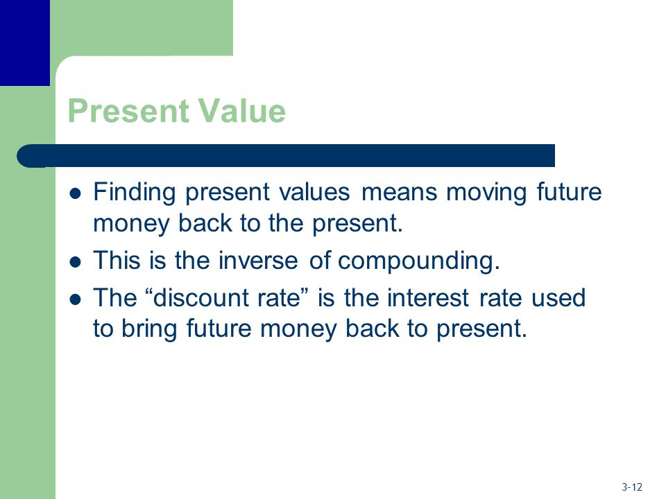 """3-12 Present Value Finding present values means moving future money back to the present. This is the inverse of compounding. The """"discount rate"""" is th"""