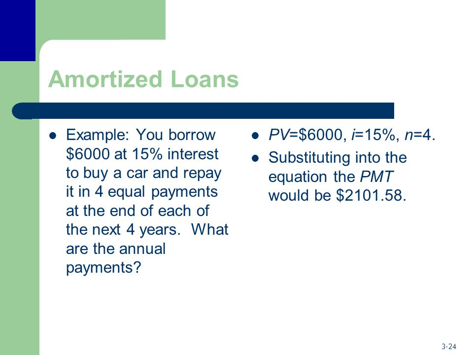 3-24 Amortized Loans Example: You borrow $6000 at 15% interest to buy a car and repay it in 4 equal payments at the end of each of the next 4 years. W