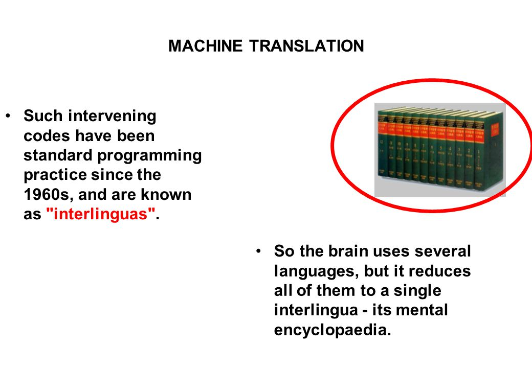 MACHINE TRANSLATION Such intervening codes have been standard programming practice since the 1960s, and are known as