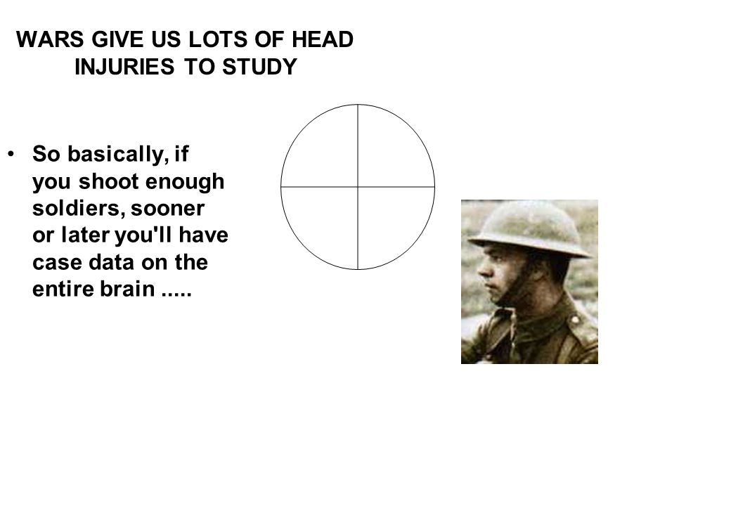 WARS GIVE US LOTS OF HEAD INJURIES TO STUDY So basically, if you shoot enough soldiers, sooner or later you'll have case data on the entire brain.....