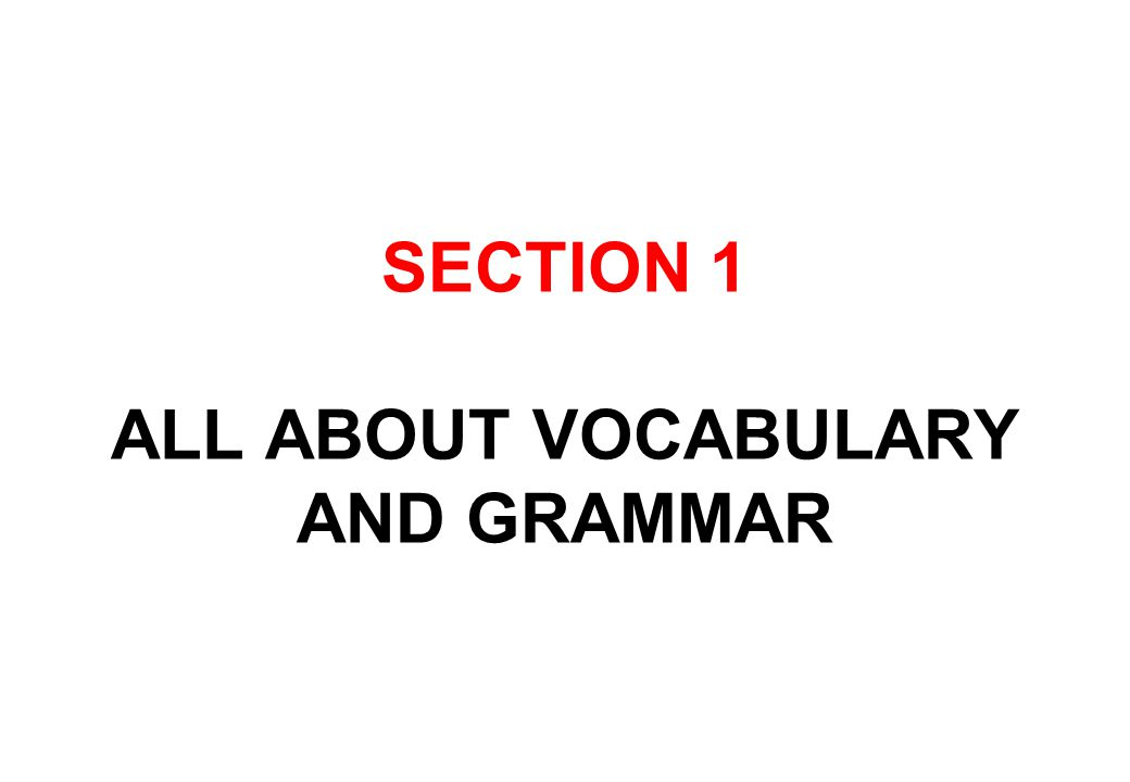 SECTION 1 ALL ABOUT VOCABULARY AND GRAMMAR