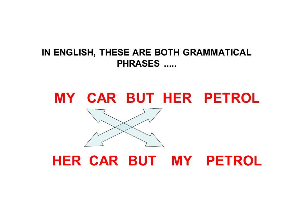 IN ENGLISH, THESE ARE BOTH GRAMMATICAL PHRASES..... PETROLBUTMYHERCAR PETROLBUTMYHERCAR