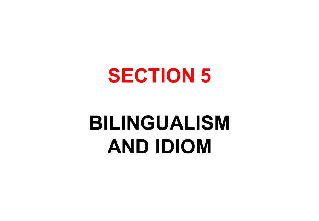 SECTION 5 BILINGUALISM AND IDIOM