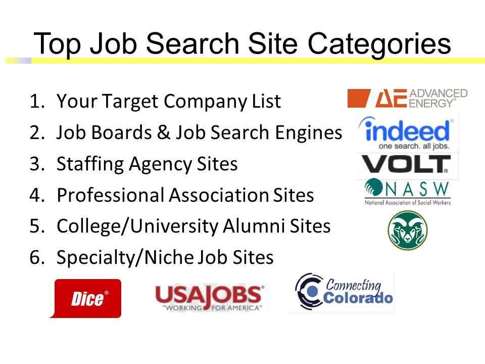 Top Job Search Site Categories 1.Your Target Company List 2.Job Boards & Job Search Engines 3.Staffing Agency Sites 4.Professional Association Sites 5.College/University Alumni Sites 6.Specialty/Niche Job Sites
