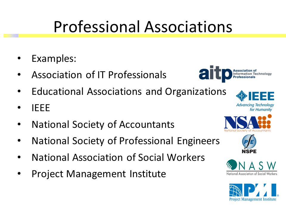 Professional Associations Examples: Association of IT Professionals Educational Associations and Organizations IEEE National Society of Accountants National Society of Professional Engineers National Association of Social Workers Project Management Institute