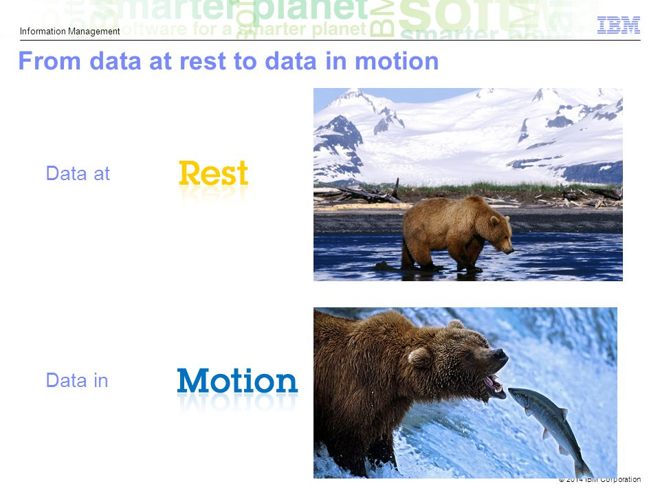 © 2014 IBM Corporation Information Management From data at rest to data in motion Data in Data at 9