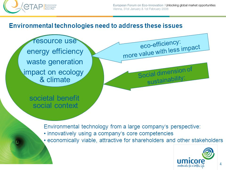 societal benefit social context resource use energy efficiency waste generation impact on ecology & climate eco-efficiency: more value with less impact Social dimension of sustainability: Environmental technology from a large company's perspective: innovatively using a company's core competencies economically viable, attractive for shareholders and other stakeholders Environmental technologies need to address these issues 4