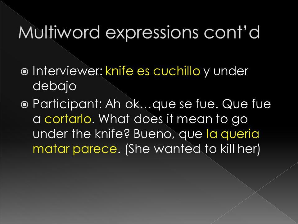 Interviewer: knife es cuchillo y under debajo  Participant: Ah ok…que se fue.