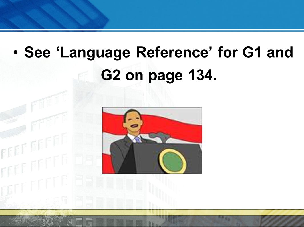 See 'Language Reference' for G1 and G2 on page 134.