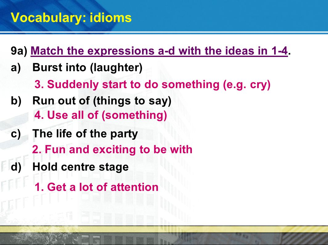 Vocabulary: idioms 9a) Match the expressions a-d with the ideas in 1-4.