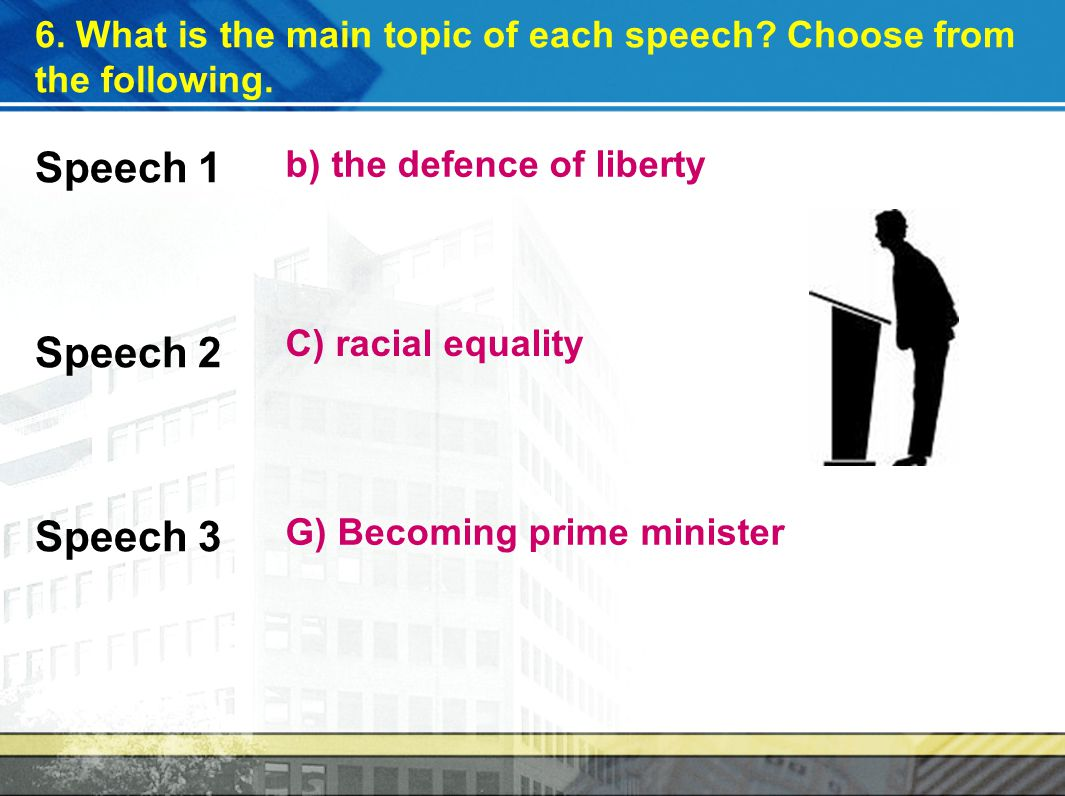 6.What is the main topic of each speech. Choose from the following.