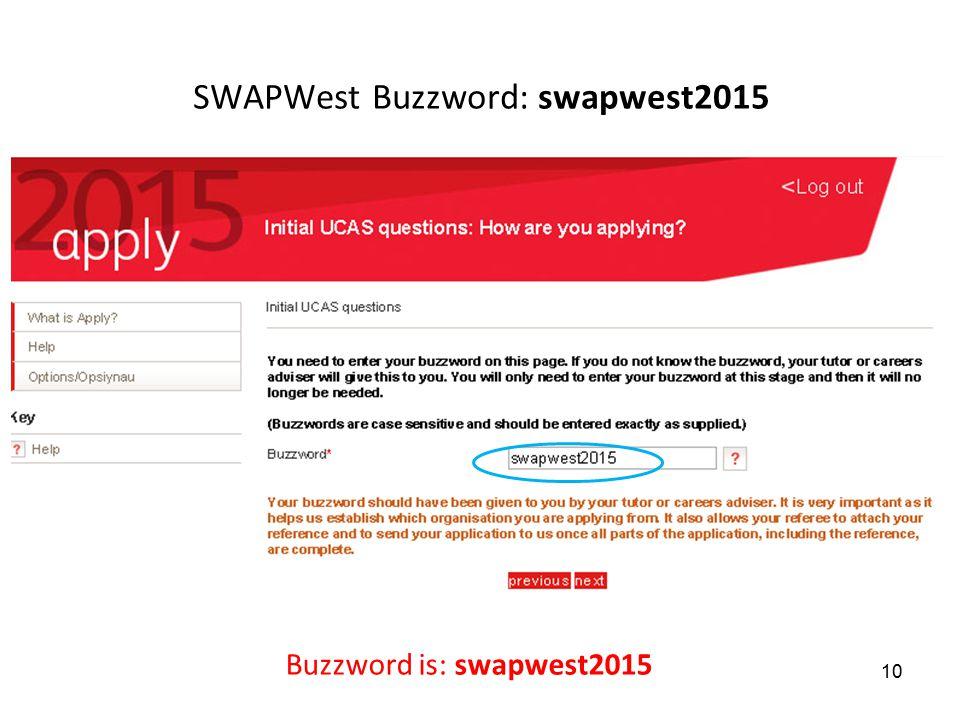 SWAPWest Buzzword: swapwest2015 Buzzword is: swapwest2015 10