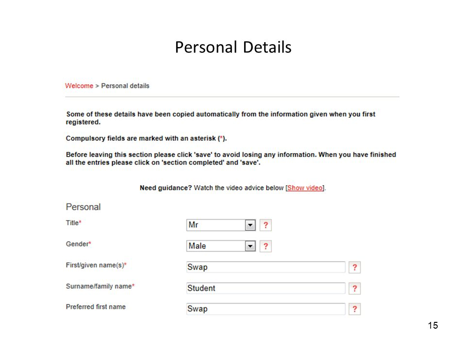 Personal Details 15