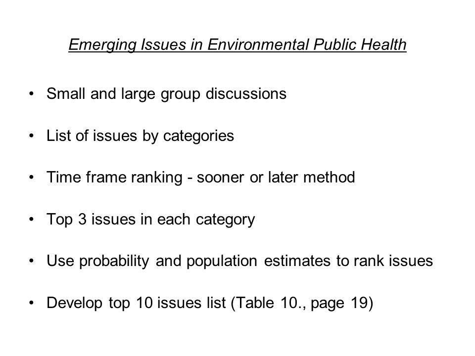 Emerging Issues in Environmental Public Health Small and large group discussions List of issues by categories Time frame ranking - sooner or later method Top 3 issues in each category Use probability and population estimates to rank issues Develop top 10 issues list (Table 10., page 19)