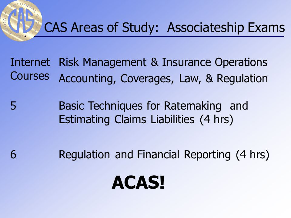CAS Areas of Study: Preliminary Exams P/1Probability (3 hrs) FM/2Financial Mathematics (Theory of Interest) (3 hrs) MFE/3FFinancial Economics (3 hrs) 3LLife Contingencies & Statistics (2.5 hrs) C/4Construction & Evaluation of Actuarial Models (3.5 hrs)