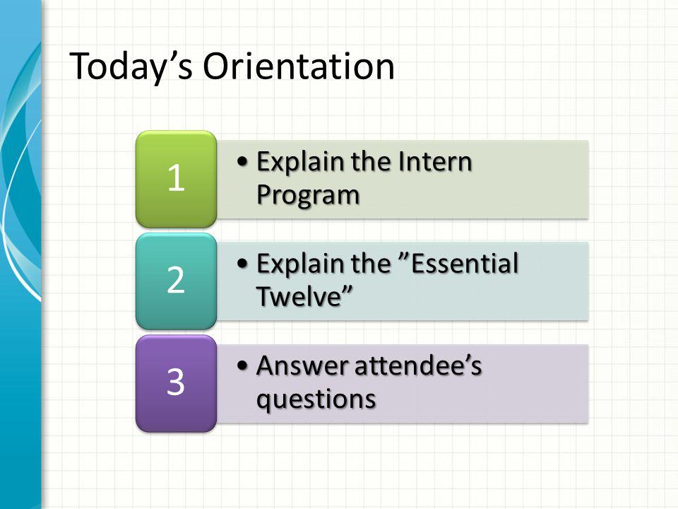 Explain the Intern ProgramExplain the Intern Program 1 Explain the Essential Twelve Explain the Essential Twelve 2 Answer attendee's questionsAnswer attendee's questions 3 Today's Orientation