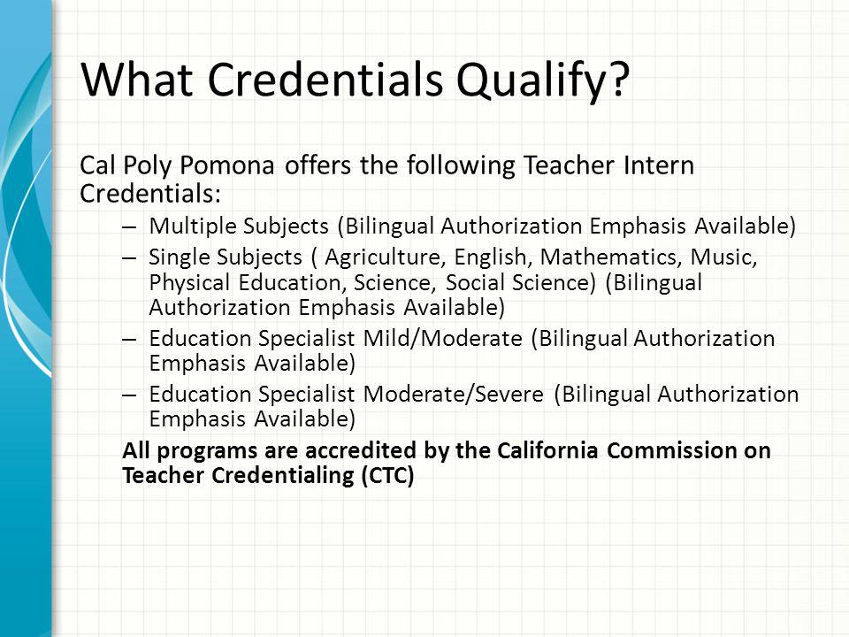 What Credentials Qualify.