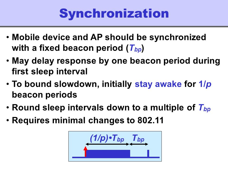 Synchronization (1/p)T bp T bp Mobile device and AP should be synchronized with a fixed beacon period (T bp ) May delay response by one beacon period during first sleep interval To bound slowdown, initially stay awake for 1/p beacon periods Round sleep intervals down to a multiple of T bp Requires minimal changes to 802.11