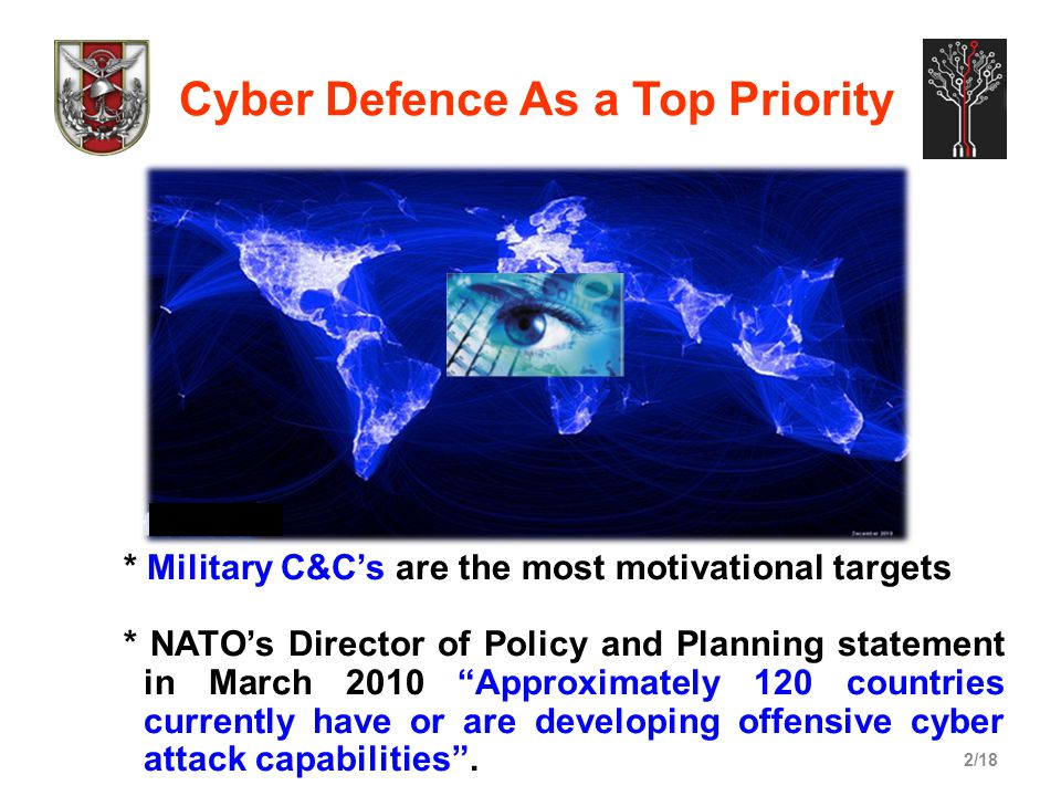 2/18 Cyber Defence As a Top Priority * Military C&C's are the most motivational targets * NATO's Director of Policy and Planning statement in March 20