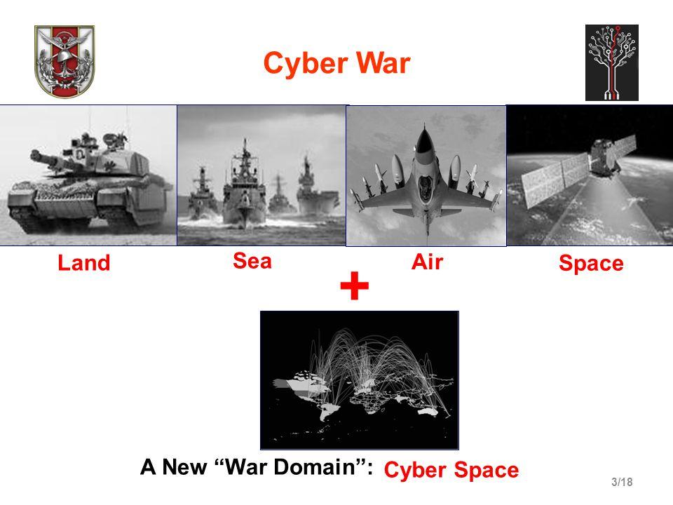 3/18 Cyber War A New War Domain : + Land Sea Space Air Cyber Space