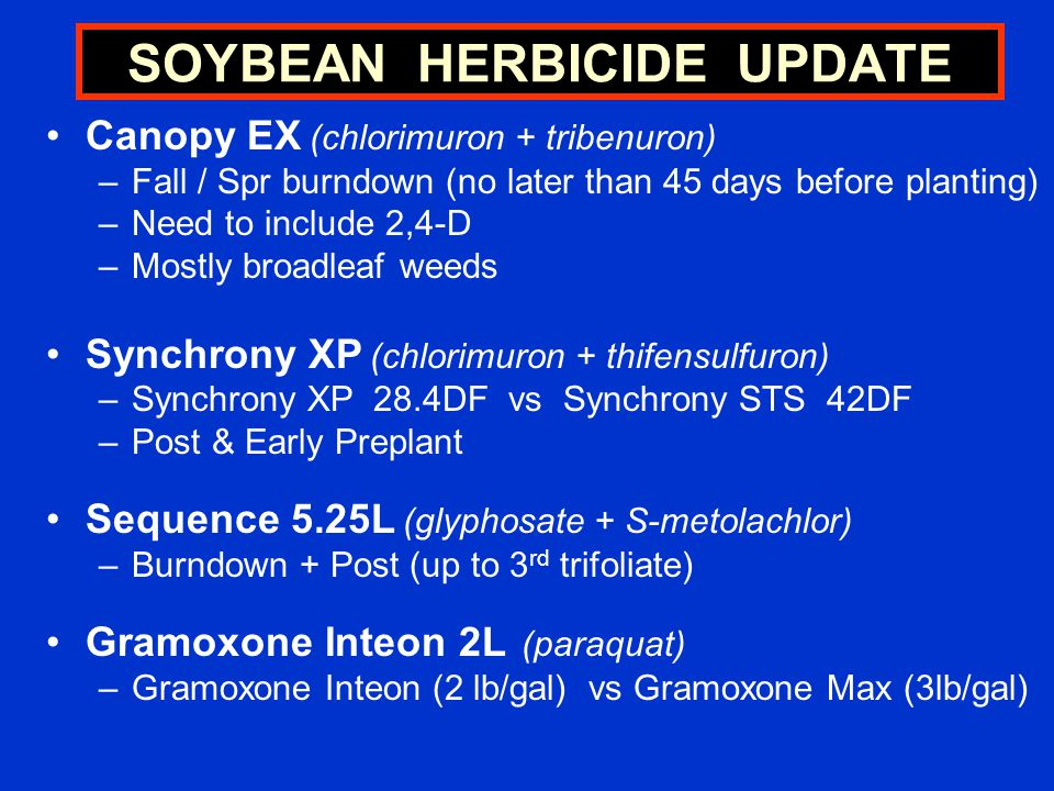 Canopy EX (chlorimuron + tribenuron) –Fall / Spr burndown (no later than 45 days before planting) –Need to include 2,4-D –Mostly broadleaf weeds Synchrony XP (chlorimuron + thifensulfuron) –Synchrony XP 28.4DF vs Synchrony STS 42DF –Post & Early Preplant Sequence 5.25L (glyphosate + S-metolachlor) –Burndown + Post (up to 3 rd trifoliate) Gramoxone Inteon 2L (paraquat) –Gramoxone Inteon (2 lb/gal) vs Gramoxone Max (3lb/gal) SOYBEAN HERBICIDE UPDATE