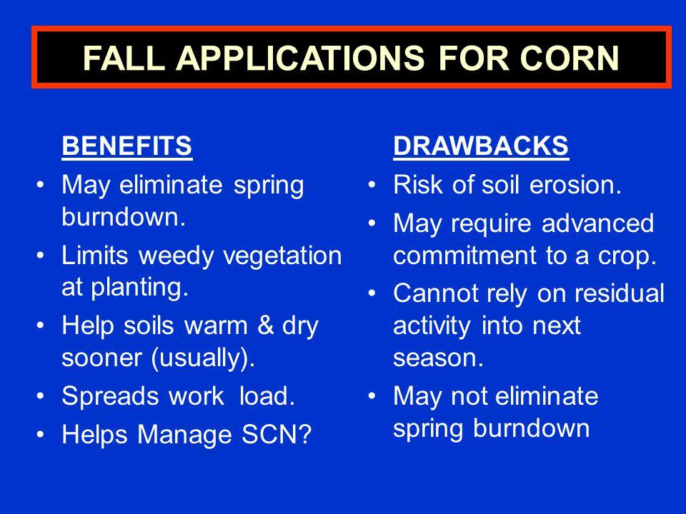 BENEFITS May eliminate spring burndown.Limits weedy vegetation at planting.