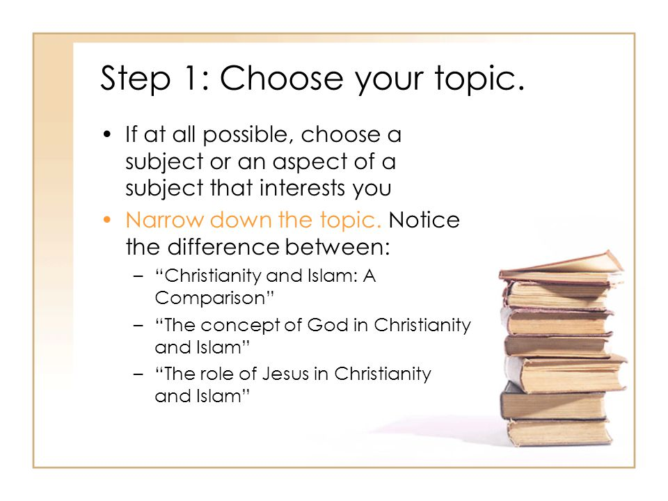 Step 1: Choose your topic.