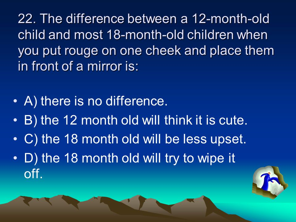 22. The difference between a 12-month-old child and most 18-month-old children when you put rouge on one cheek and place them in front of a mirror is: