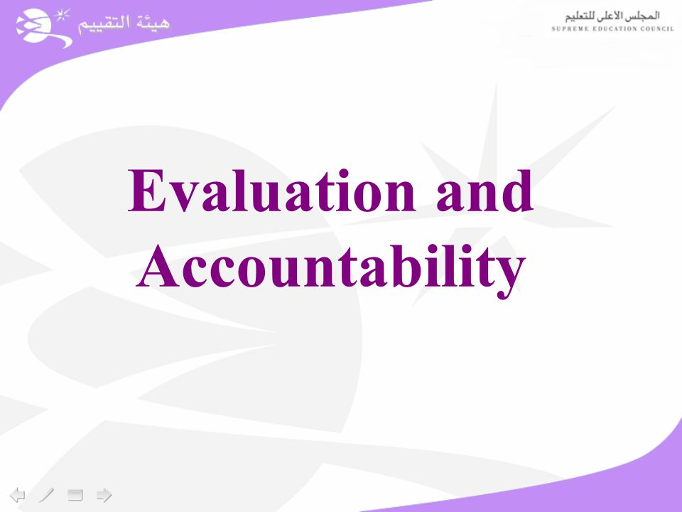 Evaluation and Accountability