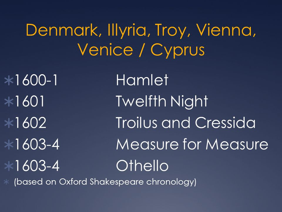 Denmark, Illyria, Troy, Vienna, Venice / Cyprus  1600-1Hamlet  1601Twelfth Night  1602Troilus and Cressida  1603-4Measure for Measure  1603-4Othe
