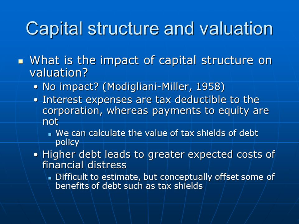 Capital structure and valuation What is the impact of capital structure on valuation? What is the impact of capital structure on valuation? No impact?