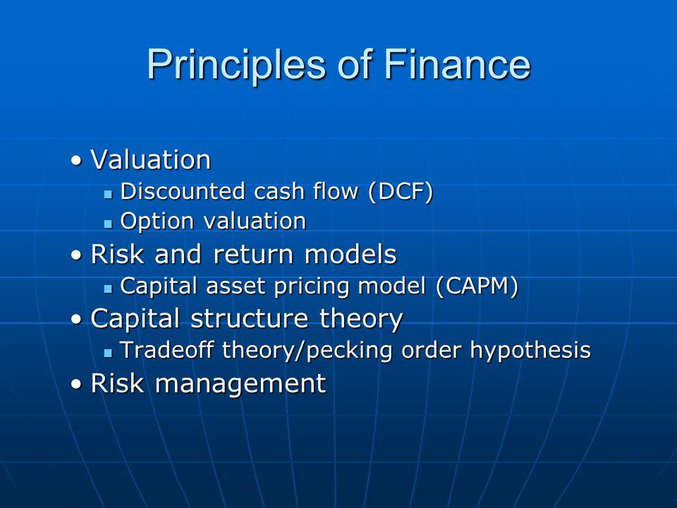 Principles of Finance ValuationValuation Discounted cash flow (DCF) Discounted cash flow (DCF) Option valuation Option valuation Risk and return model
