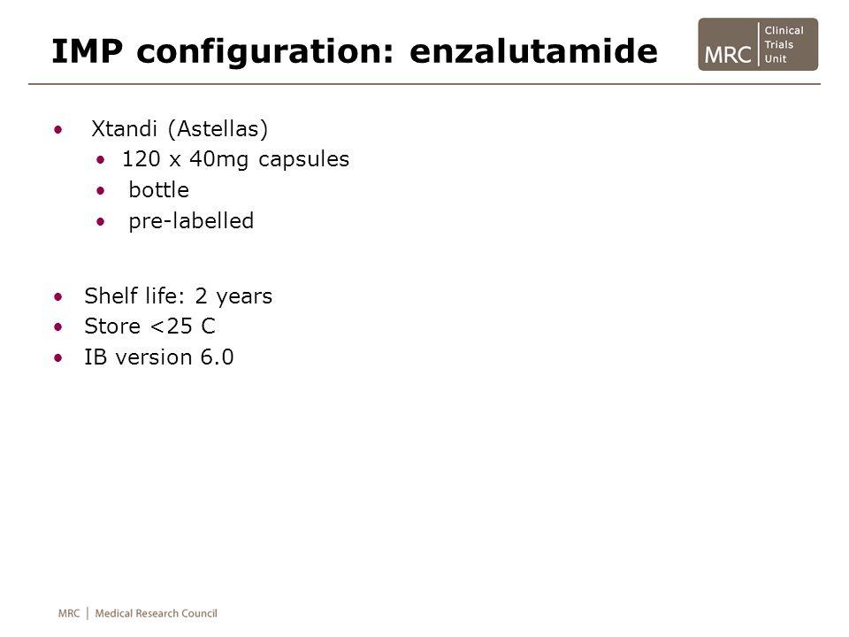 Shelf life: 2 years Store <25 C IB version 6.0 IMP configuration: enzalutamide Xtandi (Astellas) 120 x 40mg capsules bottle pre-labelled