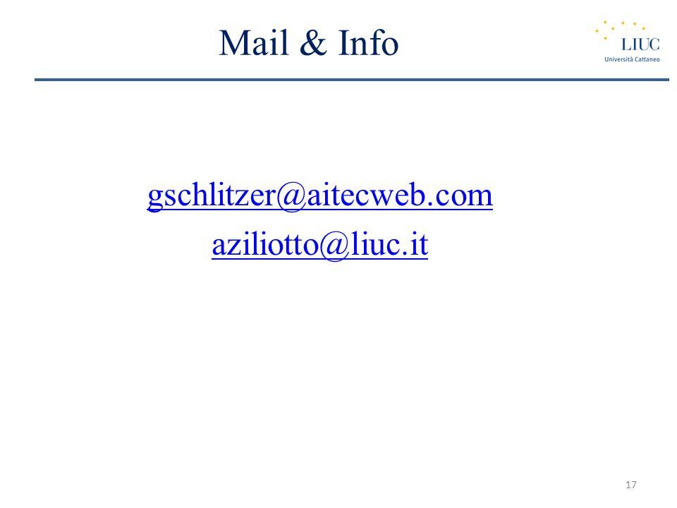 Mail & Info gschlitzer@aitecweb.com aziliotto@liuc.it 17