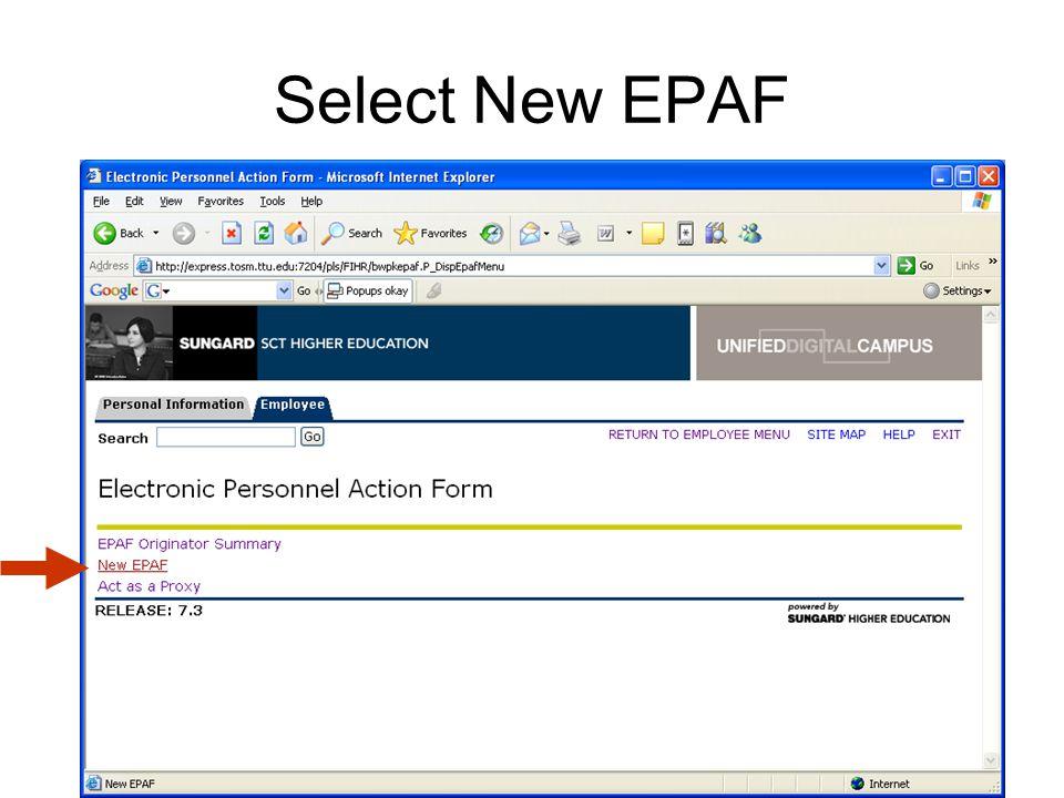 Select New EPAF
