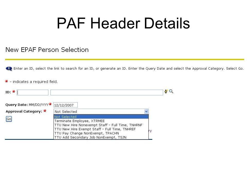 PAF Header Details