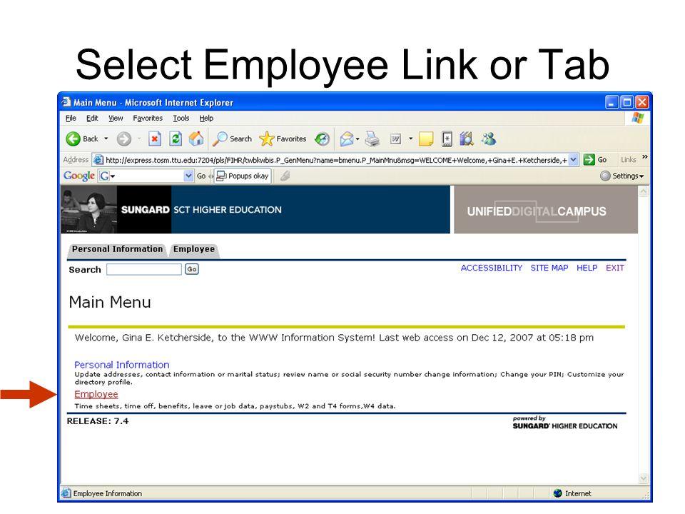 Select Employee Link or Tab