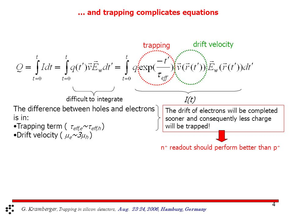 4 drift velocity trapping I(t) The difference between holes and electrons is in: Trapping term (  eff,e ~  eff,h ) Drift velocity (  e ~3  h ) difficult to integrate The drift of electrons will be completed sooner and consequently less charge will be trapped.