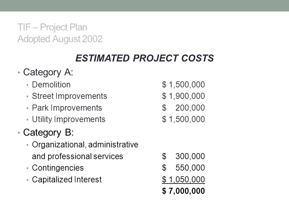 TIF – Project Plan Adopted August 2002 ESTIMATED PROJECT COSTS Category A: Demolition$ 1,500,000 Street Improvements$ 1,900,000 Park Improvements$ 200,000 Utility Improvements$ 1,500,000 Category B: Organizational, administrative and professional services$ 300,000 Contingencies$ 550,000 Capitalized Interest$ 1,050,000 $ 7,000,000