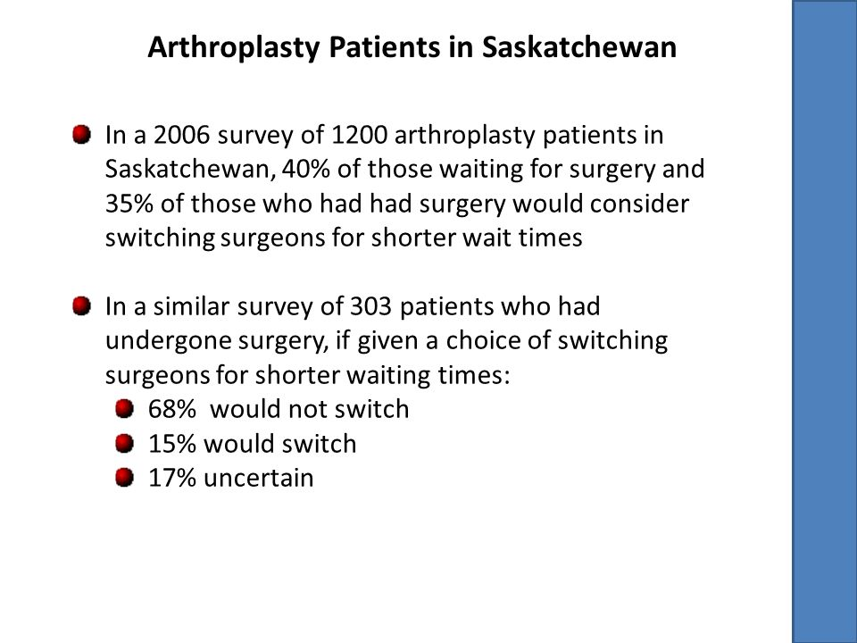 Arthroplasty Patients in Saskatchewan In a 2006 survey of 1200 arthroplasty patients in Saskatchewan, 40% of those waiting for surgery and 35% of those who had had surgery would consider switching surgeons for shorter wait times In a similar survey of 303 patients who had undergone surgery, if given a choice of switching surgeons for shorter waiting times: 68% would not switch 15% would switch 17% uncertain