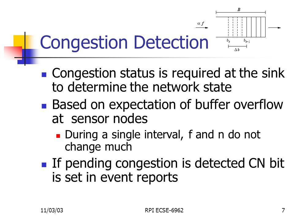 11/03/03RPI ECSE-69627 Congestion Detection Congestion status is required at the sink to determine the network state Based on expectation of buffer overflow at sensor nodes During a single interval, f and n do not change much If pending congestion is detected CN bit is set in event reports