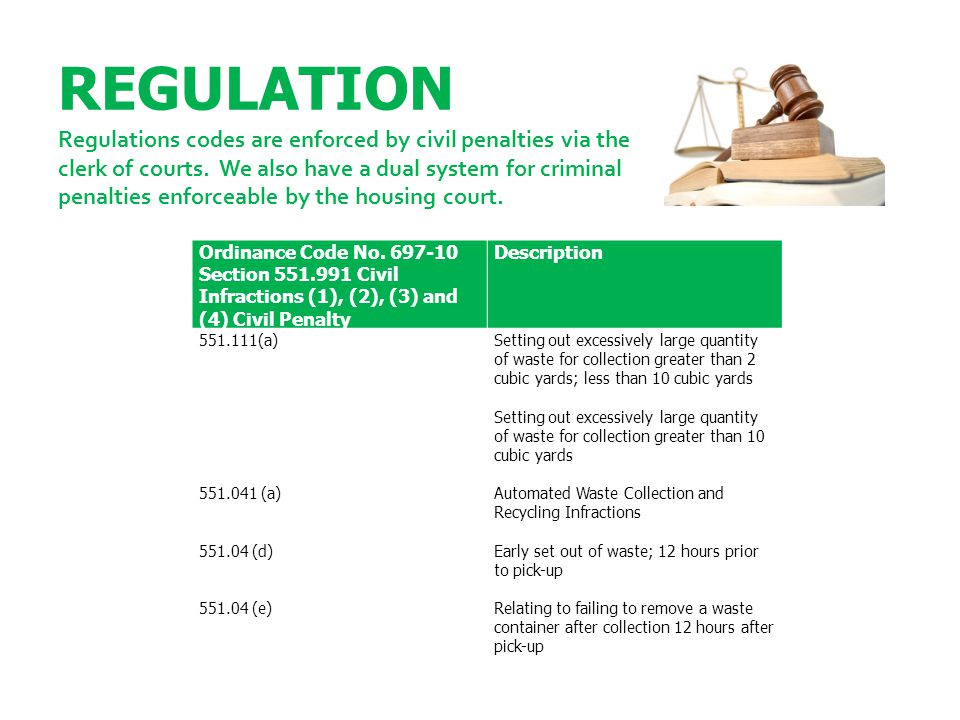 REGULATION Regulations codes are enforced by civil penalties via the clerk of courts. We also have a dual system for criminal penalties enforceable by