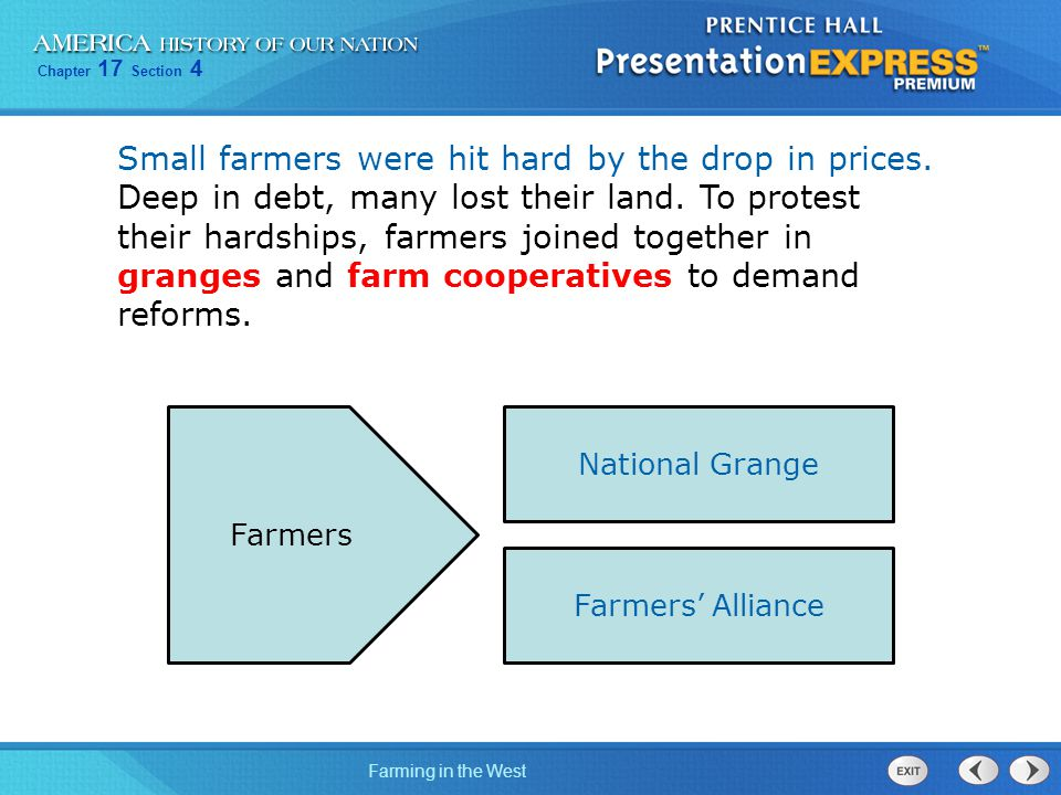 Chapter 17 Section 4 Farming in the West Small farmers were hit hard by the drop in prices. Deep in debt, many lost their land. To protest their hards