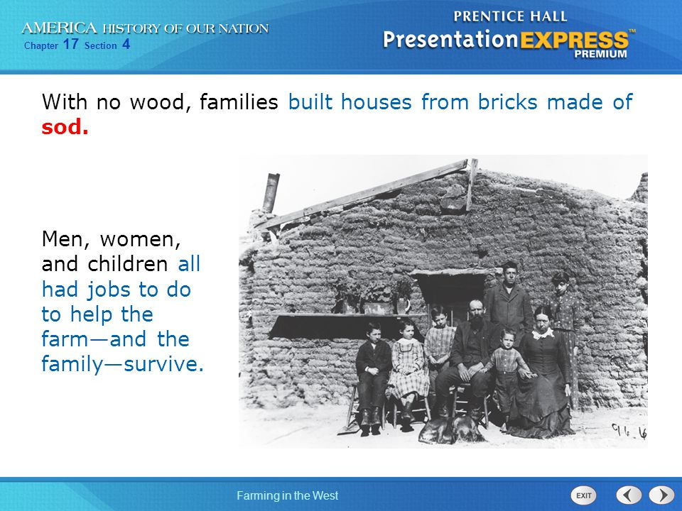 Chapter 17 Section 4 Farming in the West With no wood, families built houses from bricks made of sod. Men, women, and children all had jobs to do to h