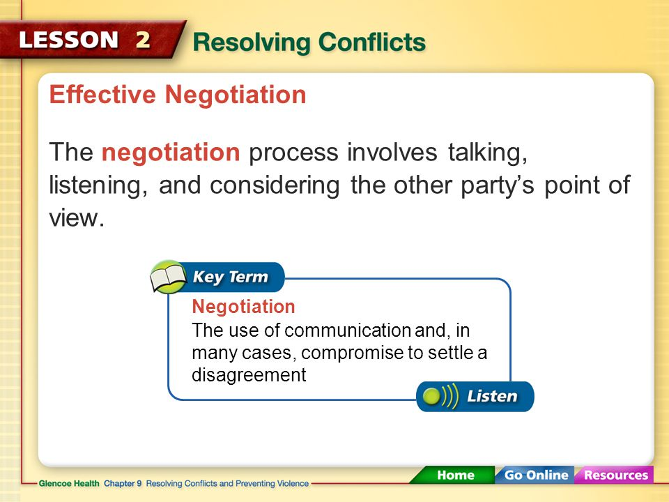 Effective Negotiation Violence does not address the cause of the conflict, so the same conflict is likely to occur again.