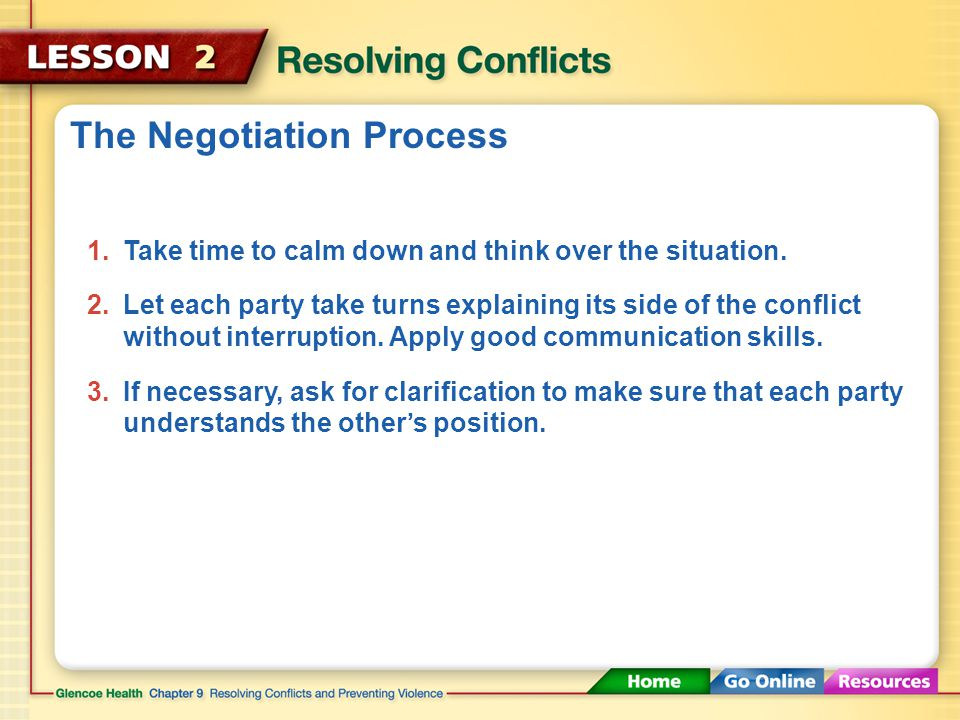 Effective Negotiation The negotiation process involves talking, listening, and considering the other party's point of view.