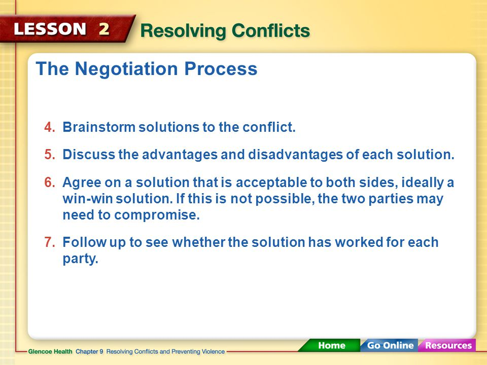 The Negotiation Process 1.Take time to calm down and think over the situation.